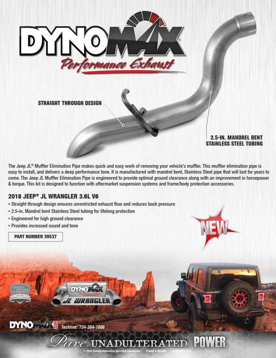 New! DynoMax Muffler Elimination pipe for the Jeep Wrangler